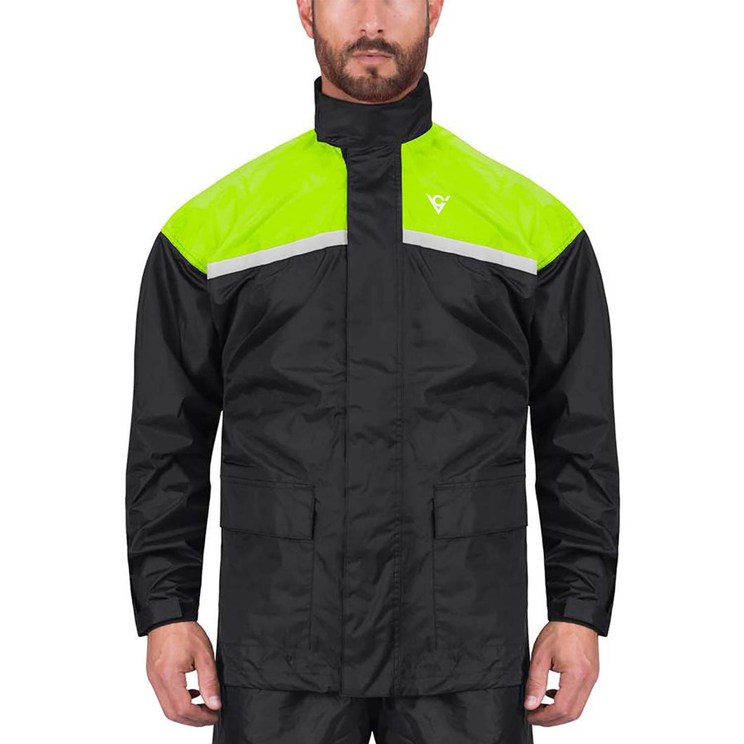 Viking Cycle Two Piece Hi Viz Neon Textile Motorcycle Rain Suit for Men