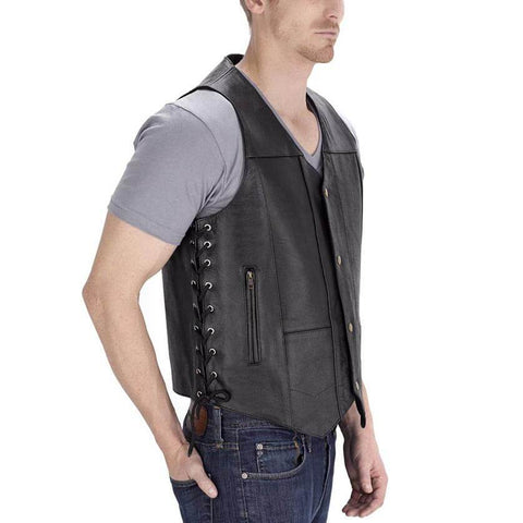 Viking Cycle Thorfinn 10 Pocket Leather Motorcycle Vest for Men