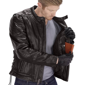 Viking Cycle Warrior Brown Leather Motorcycle Jacket for Men