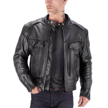 Viking Cycle Skeid Black Leather Motorcycle Jacket for Men
