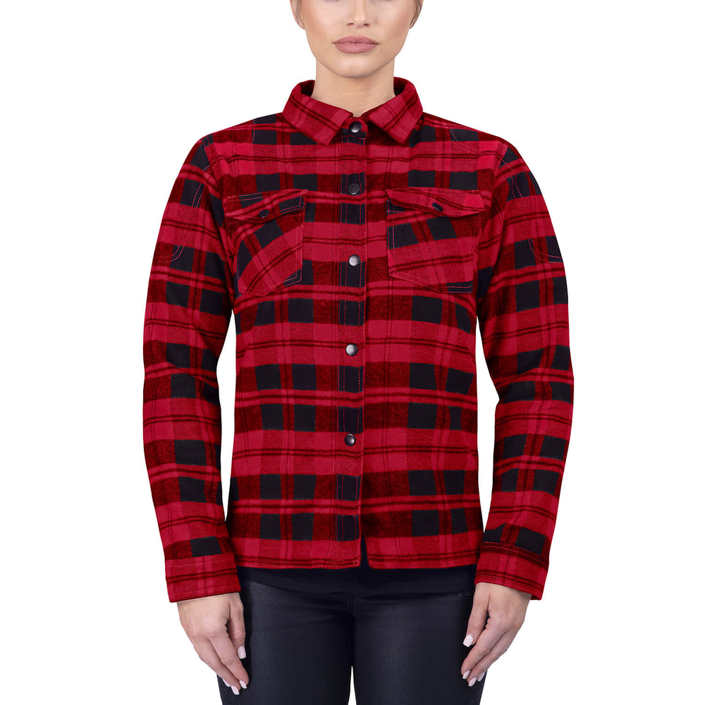 Viking Cycle Red Textile Motorcycle Flannel Shirt for Women