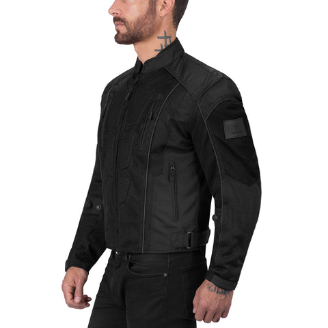Viking Cycle Warlock Black Mesh Motorcycle Jacket for Men