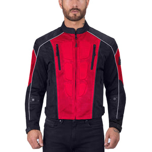 Viking Cycle Warlock Red Mesh Motorcycle Jacket for Men