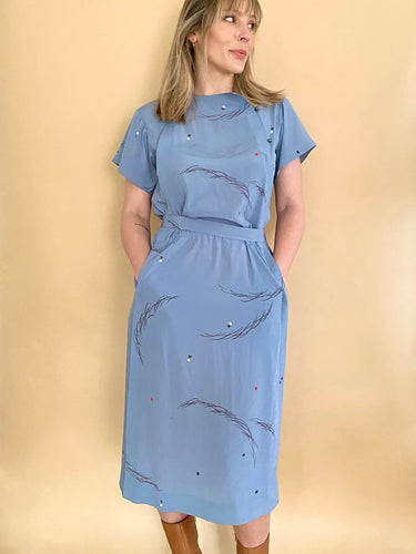1940s Satin Blue Dress
