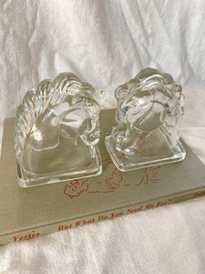Mid-Century Glass Horse Bookends