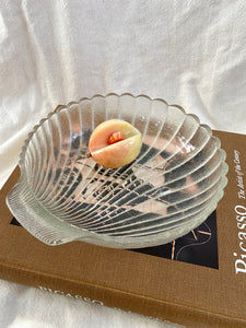 80s Large Frosted Shell Bowl