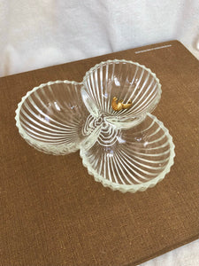 Ribbed Glass Clover Dish