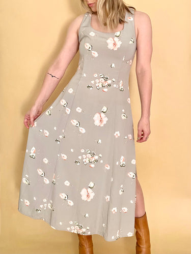 Grey Floral Cross Back Dress