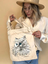 Load image into Gallery viewer, Canvas Cat Tote