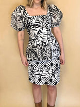 Load image into Gallery viewer, Black & White 80s Party Dress