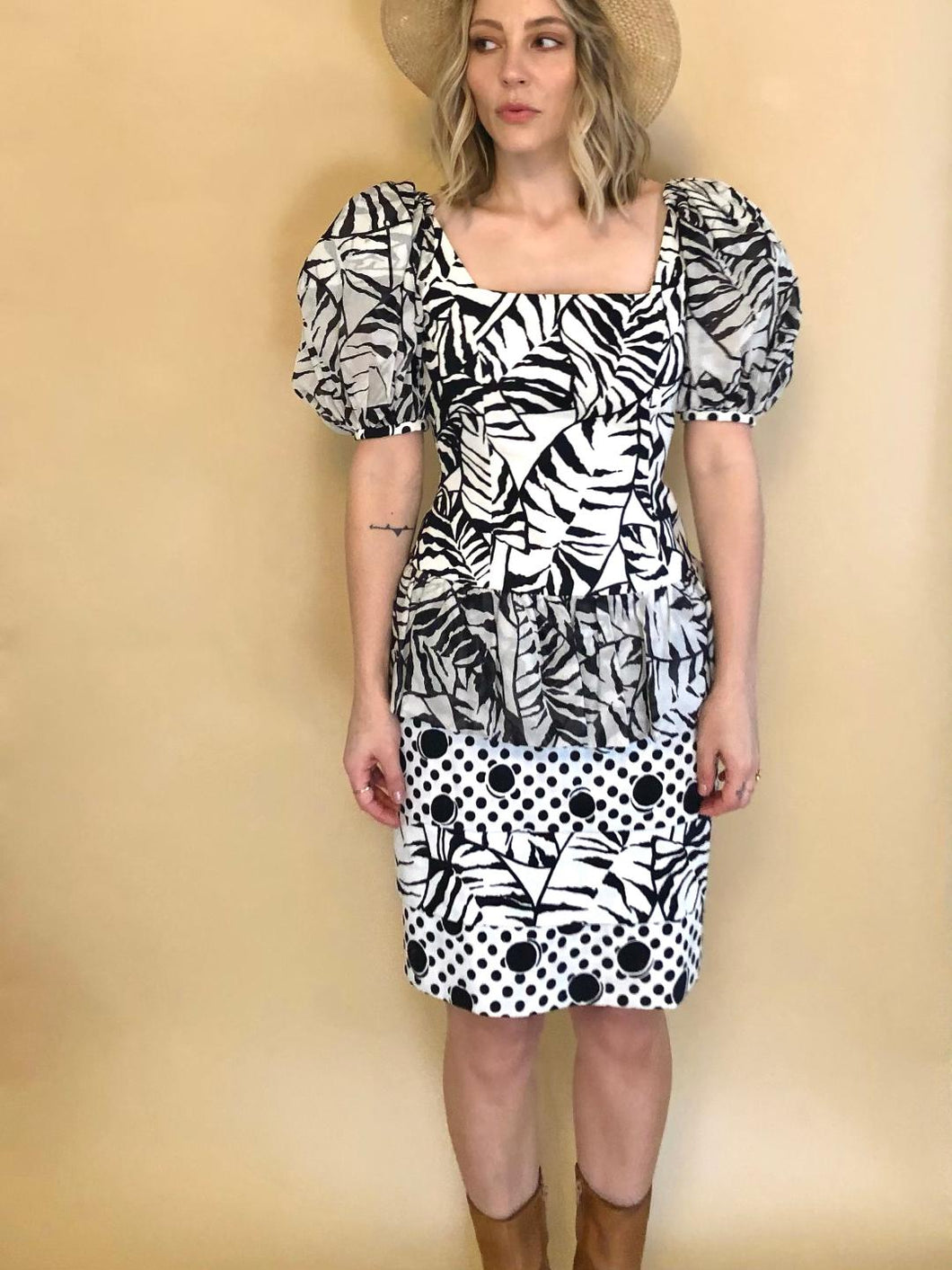 Black & White 80s Party Dress