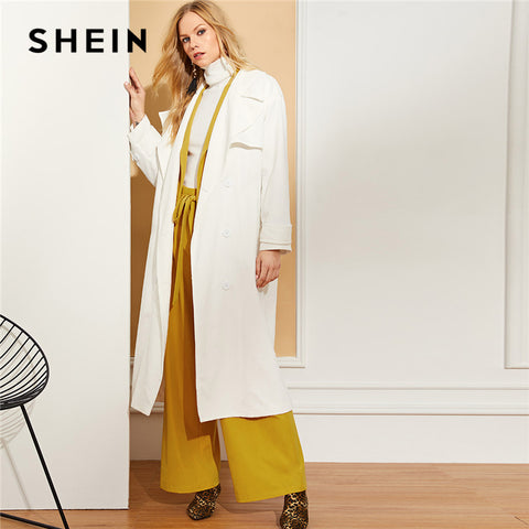 9d5d6f563a SHEIN White Office Lady Highstreet Button Front Split Long Notched Collar Solid  Coat 2018 Autumn Elegant