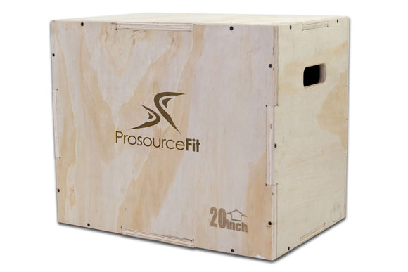 ProsourceFit 3-in-1 Wooden Plyometric Box 2 Variations (24/20/16 & 30/24/20)