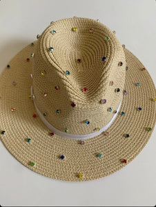 Bits & Pieces- Panama Hat- Natural/Rainbow- MADE TO ORDER