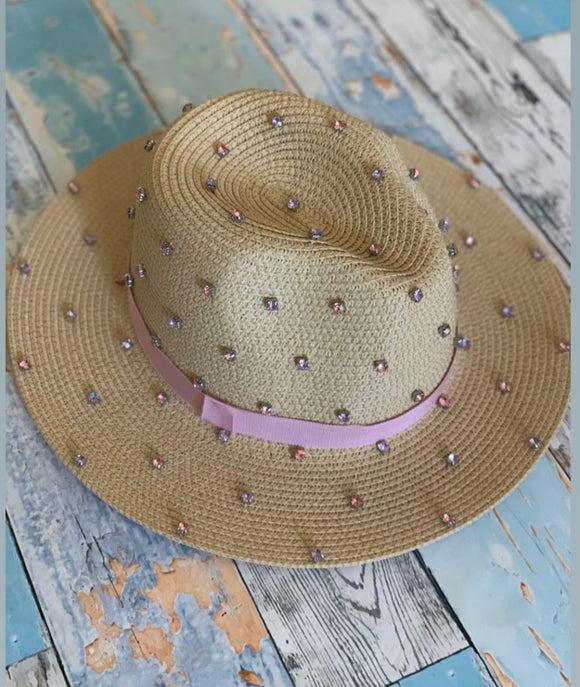 Bits & Pieces- Panama Hat- Natural/Pink/Purple Stones-MADE TO ORDER