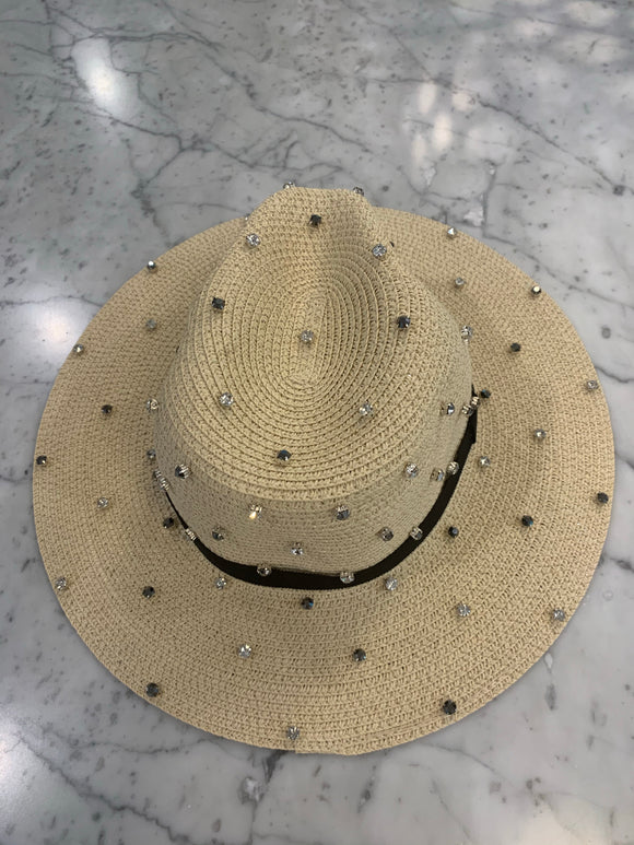 Bits & Pieces- Panama Hat- Natural/Grey & Clear Stones-MADE TO ORDER