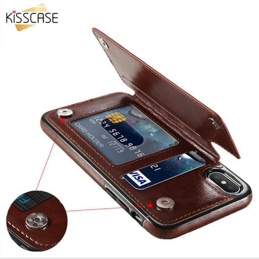 KISSCASE Retro PU Leather Case For iPhone 6 6s 7 Plus Card Holders