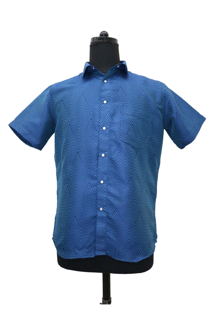 Blue Diamond Short Sleeve Button Up