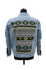 Green Aztec Denim Jacket