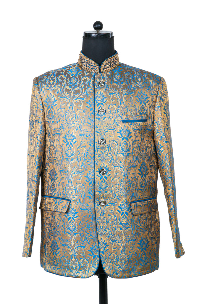 Hand Embroidered Blonde Nehru Jacket *PRE ORDER*