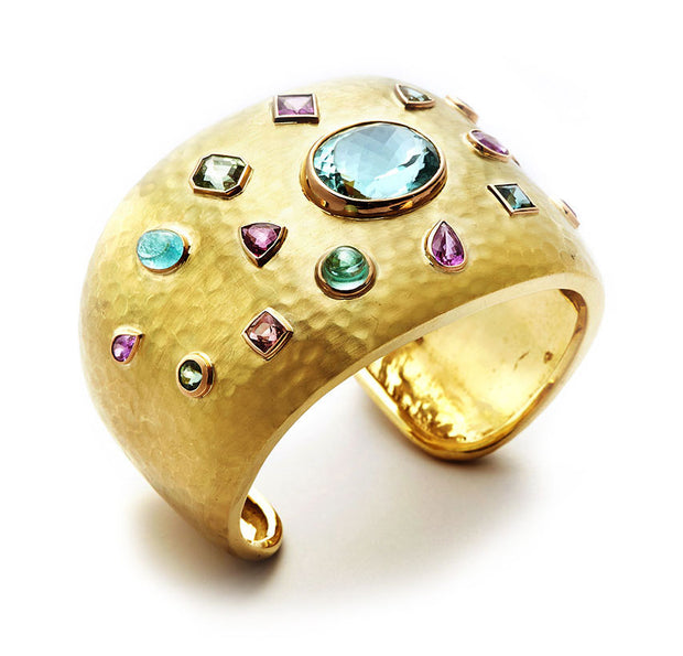 Hammered 18kt Gold Cuff set with Multi Gemstones