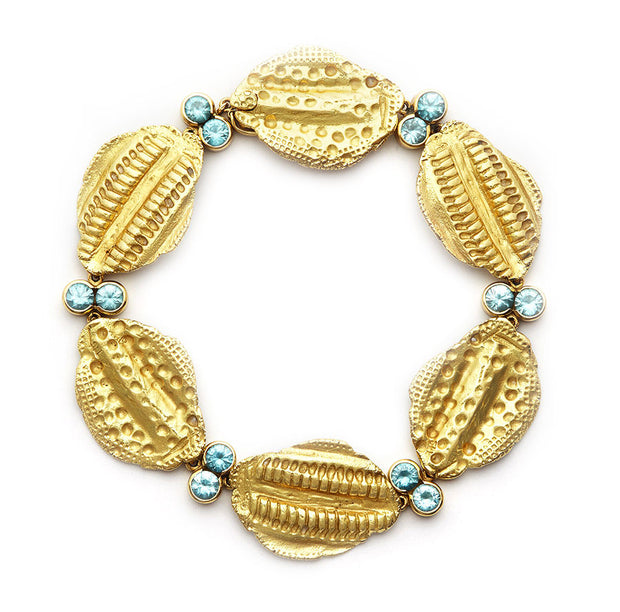 18kt Gold Vertebrae Link Bracelet with Blue Zircon