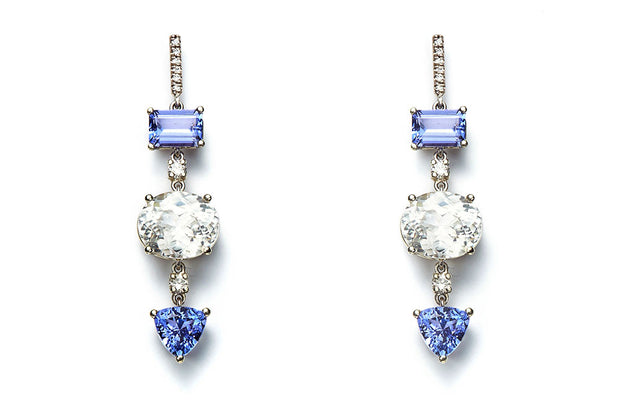 Tanzanite, White Zircon and Diamond Dangle Earrings
