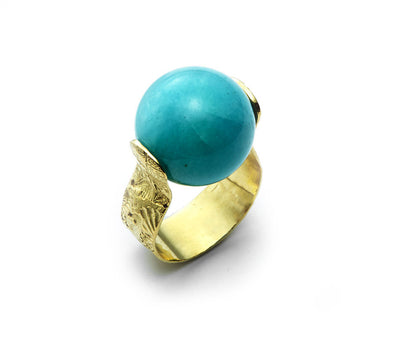 Amazonite Spinning Ring with Sea Urchin Band set in 18kt Gold