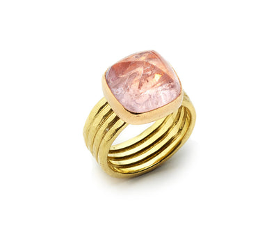Antique Custom Cut Cabochon Morganite set in 18kt Rose Gold with an 18kt Yellow Band