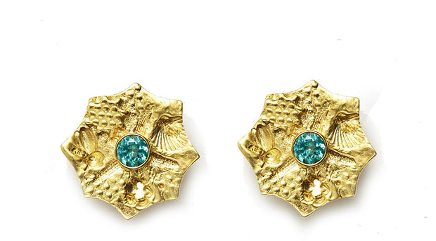 Apatite and 18kt Gold Sea Urchin Earrings