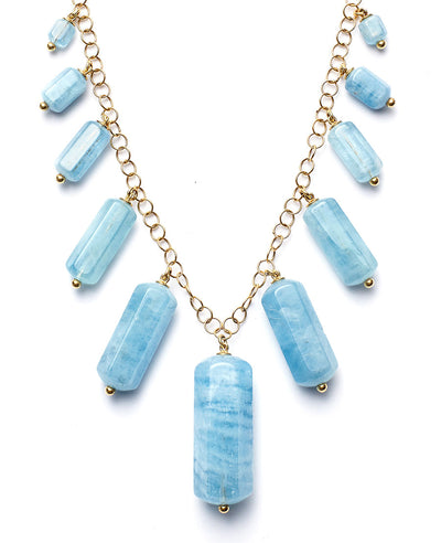 Aquamarine Tube Necklace with 18kt Gold Chain