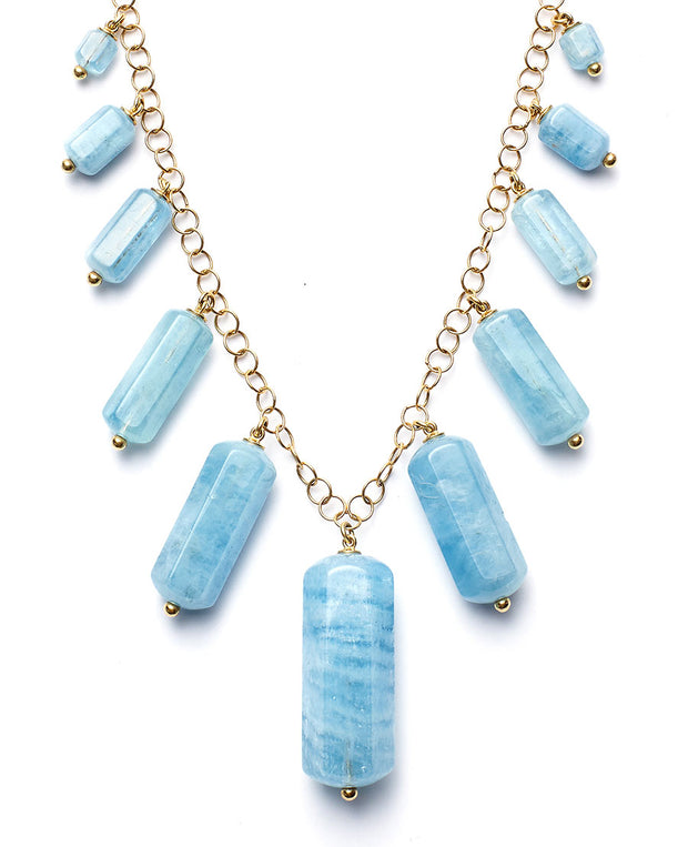 Aquamarine Tube and 18kt Gold Chain Necklace