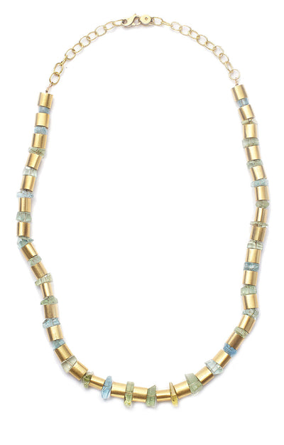 20kt Gold Tube Necklace with Aquamarine and Green Beryl Slices
