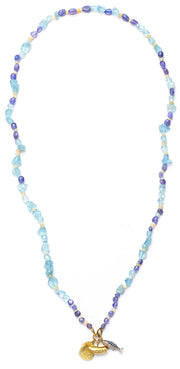 Aquamarine, Tanzanite and Opal Necklace with Gold Three Ring Clasp