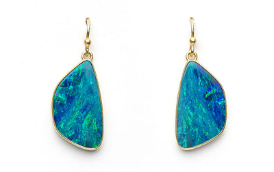 Australian Boulder Opal Drops set in 18kt Gold