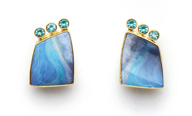 Australian Boulder Opal and Apatite Earrings set in 18kt Gold