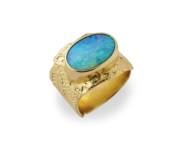 """Down Under"" Ring with Australian Boulder Opal set in 18kt Gold"