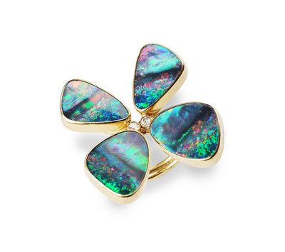 Australian Opal and Diamond Butterfly Ring set in 18kt Gold