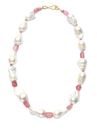 Freshwater Baroque Pearls with Pink Tourmalines