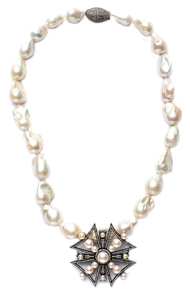 Baroque Pearl and Maltese Cross Necklace with Diamond Clasp
