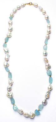 South Sea Baroque Pearl and Aquamarine Necklace - 34""