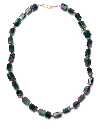 Bi-Color Tourmaline and Pink Sapphire Necklace