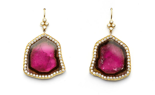 Watermelon Tourmaline and Diamond Earrings set in 18kt Yellow Gold