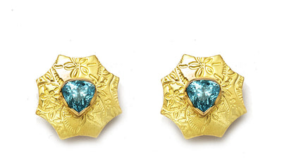 Blue Zircon Earrings in 18kt Gold