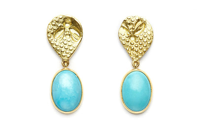 18kt Gold Busy Bee Earrings with Turquoise Drops