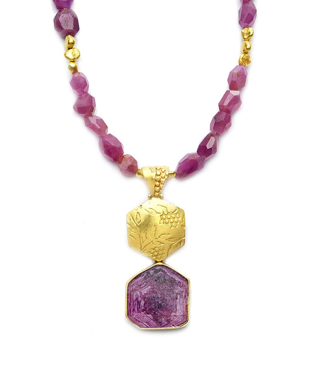 Cherry Blossom and Ruby Slice Pendant in 18kt Gold