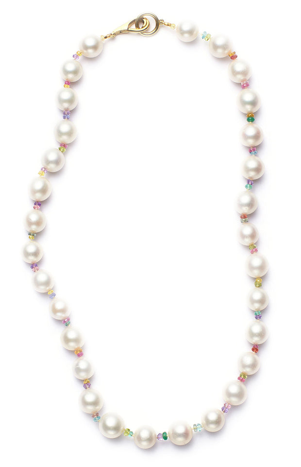 Freshwater Pearl and Multi-Colored Sapphire Necklace