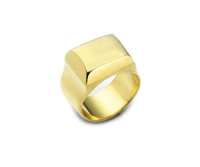 Greek Signet Ring - 18kt Yellow Gold