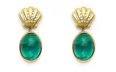 Green Tourmaline Earrings with 18kt Gold and Diamond Shells