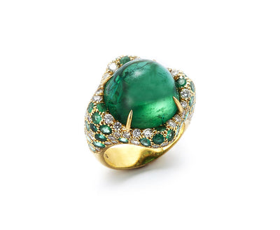 Green Tourmaline Ring with Diamonds and Emeralds set in 18kt Gold